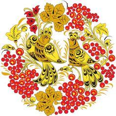 Роспись с изображением птиц среди ягод