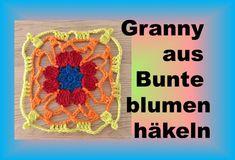 Crochet Granny from Flower Crochet Earrings, Make It Yourself, Blog, Youtube, Colorful Flowers, Scarf Crochet, Handarbeit, Wool, Nice Asses