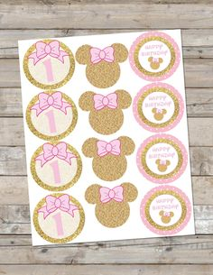 Pink and Gold Minnie Mouse Cupcake Toppers/Birthday Party/ Gold Glitter Party/ Pink and Gold Cupcake Toppers/ Minnie Printables by KJDesignsCompany on Etsy https://www.etsy.com/listing/285566301/pink-and-gold-minnie-mouse-cupcake