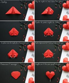 10 MAKING DIY FLOWER AND ORIGAMI PAPER - Today we will give you information on how to make flowers from paper and origami paper. You will just need to paper and scissors. I've gathered up . Paper Hearts Origami, Instruções Origami, Origami Love, Origami Fish, Origami Design, Heart Origami, Origami Ideas, Oragami, Dollar Origami