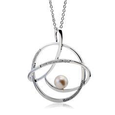 Collier femme, perle de culture 4,10 ct, oxyde de zirconium 0,32 ct, argent, 10.60g, Style classique - Manège à Bijoux