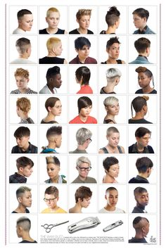 DIS magazine, no date. This modern poster features short, masculine haircuts on lesbian women and showcasing the diversity of mannish lesbians.