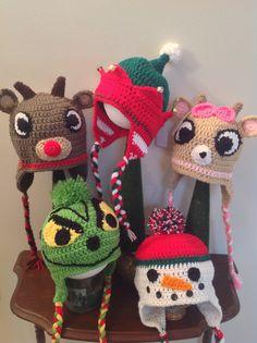 Christmas crochet hats.... Rudolph , Clarisse, the Grinch, elf, snowman