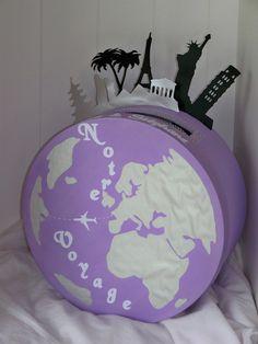 Urne mariage ronde thème voyage de noces avec planisphère