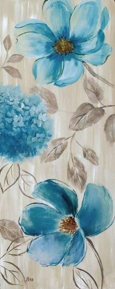 Acrylic Painting Flowers, Watercolor Flowers, Watercolor Paintings, Easy Flower Painting, Flower Canvas, Flower Art, Blue Garden, Affordable Wall Art, Arte Floral