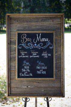 Chalkboard menu inside a wood pallet frame.