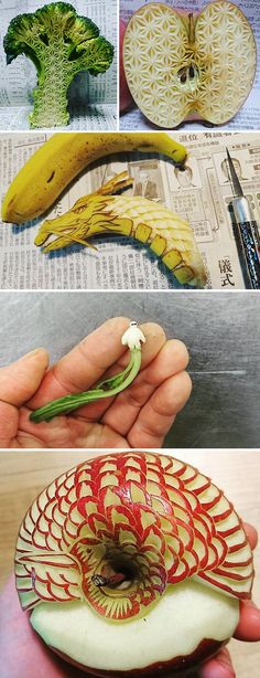 "Playing with your food isn't always a bad thing. A Japanese artist, who goes by the name Gaku on Instagram, has raised it to an art form, carving intensely intricate patterns into everyday fruits and vegetables. Gaku, who began posting his work on Instagram about 8 months ago, practices the traditional Japanese art of mukimono, which literally means ""stripped product"". It became a popular form of food presentation during the 16th century in Japan, and spread to Thailand shortly after. It is…"
