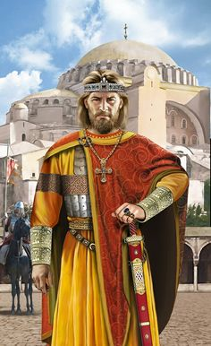 m Cleric Noble Medium Armor Cloak Necklace Crown Bracers Sword male urban city Temple street story Emperor Basil I of the Eastern Roman Byzantine Empire at the Hagia Sofia lg Medieval World, Medieval Knight, Medieval Fantasy, Ancient Rome, Ancient History, Byzantine Army, Byzantine Icons, Friedrich Ii, Byzantine Architecture