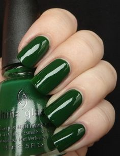 China Glaze 'Holly Day.' I think I've finally found a green that's not bright green, but not too dark. Would look lovely with gold stamping...