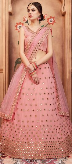 Light Pink Georgette Designer Lehenga Choli with Mirror Work - Designer Dresses Couture