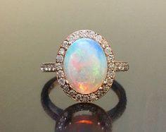 18K Rose Gold Halo Diamond Opal Engagement Ring by DeKaraDesigns