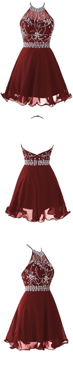 Short/Mini Homecoming Dresses, Burgundy Mini Prom Dresses, Mini Short Prom Dresses, Chiffon Burgundy A Line Halter Homecoming Dresses With Beading,Short Prom Dress Dresses For Teens Wedding, A Line Prom Dresses, Dance Dresses, Quinceanera Dresses, Chiffon Dresses, Prom Gowns, Dress Wedding, Dress Prom, Party Dresses