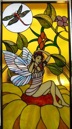 J&M Stained Glass, North Myrtle Beach, SC - Fairy on flowers scene.