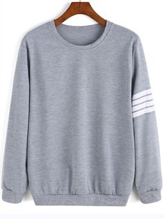 eb9960caf21 Grey Round Neck Varsity-Striped Sweatshirt Sweater Hoodie
