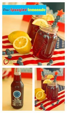 Star Spangled Lemonade Recipe - Celebrate and stay hydrated! This lemonade can be fun by adding some fruit sticks for the Fourth of July! http://www.superhealthykids.com/star-spangled-lemonade/