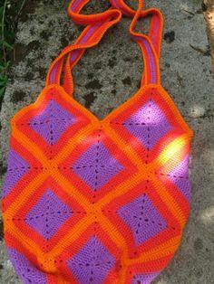Rainbow Bunting Handbag Tote Bags Purse Crochet Knit