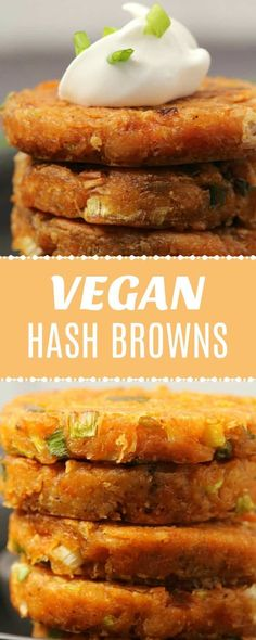 Golden and crispy vegan hash browns these deliciously savory hash browns are so easy to make and perfect for breakfast or brunch vegan plantbased lovingitvegan com how to make air fryer hash brownsthe best way! hash browns in air fryer Vegan Breakfast Casserole, Healthy Vegan Breakfast, Vegan On The Go Breakfast, Breakfast Plate, Breakfast Hash, Breakfast Potatoes, Vegan Pancake Recipes, Whole Food Recipes, Vegan Recipes