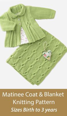 Baby Knitting Pattern Baby Matinee Coat and Blanket Sirdar 4941 Matching cardigan baby jacket and baby blanket with beautiful cable details. Sizes 0-6 months, 6-12 months, 1-2 years, 2-3 years. Fingering weight yarn. Matinee Coat and Blanket in Sirdar Snuggly 4 Ply (4941) Baby Knitting Patterns, Baby Patterns, Security Blanket, Baby Cardigan, Rompers, 3 Years, Coat, 12 Months, Sweaters