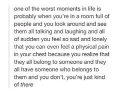 I hate this feeling so much. Your in a room full of people and your lonely