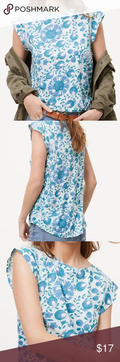 🦋LOFT🦋Vintage Soft Flutter Sleeve Tee 🦋Unique floral print  🦋embroidered detail at shoulders 🦋Cute flutter sleeves 🦋Can be worn tucked in with a nice belt or... 🦋...comfy & loose to show off shirttail hem! LOFT Tops Tees - Short Sleeve