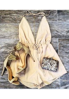 Beige plunge halter romper and cute ensemble