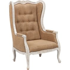 I love the burlap (like) feel to the fabric coupled with the embellished & white washed frame.