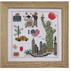 "point de croix new york | Kit de broderie avec perles sur carton perforé "" I love New-york """