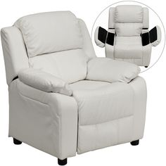 Flash Furniture Deluxe Padded Contemporary White Vinyl Kids Recliner With  Storage Arms [BT 7985