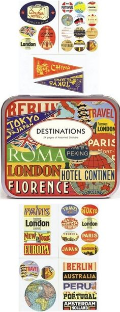 The Cavallini Destinations Travel Stickers are an amazing array of retro graphics featuring worldwide places on stickers of various shapes and sizes. Includes 95 stickers in a decorative tin.