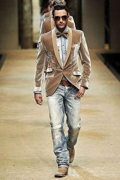 great man style...Crushed velvet, bowties and denim.