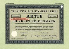 Tilsiter Actien-Brauerei, Tilsit, Aktie über 100 RM von 1924 + SELTEN