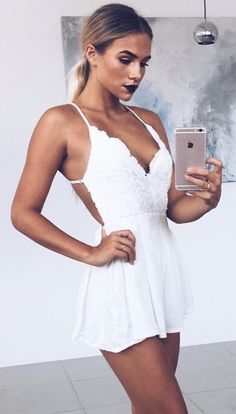 #summer #outfits  Little White Lace Playsuit 🖤