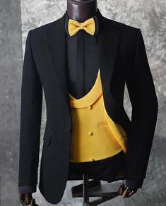 3 Piece Suit Wedding, Wedding Suit Styles, Wedding Suits, Wedding Dresses, Black Outfit Men, Formal Attire For Men, Yellow Suit, Slim Fit Suits, African Men Fashion