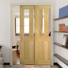 Deanta Twin Telescopic Pocket Eton American White Oak Veneer Doors - Clear Safety Glass - Unfinished.    #glazedpocketdoors  #pocketdoors  #telescopicdoors
