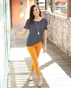 Our styles help you step into your closet with confidence. Learn why thousands of women trust Grace & Lace to help them look trendy every day, no matter the occasion! Lace Outfit, Tights Outfit, Colored Jeggings, Grace And Lace, Striped Tights, Yellow Pants, Fashion Tights, Ruffle Sleeve, Long Sleeve Tops