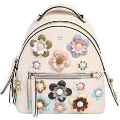 Fendi Women Mini Flower Appliqués Leather Backpack ($2,745) ❤ liked on Polyvore featuring bags, backpacks, off white, leather rucksack, leather knapsack, mini backpack, studded leather backpack and mini bag