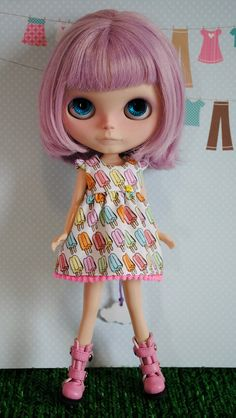 Popsicle Ice Cream cotton candy pink hair Blythe