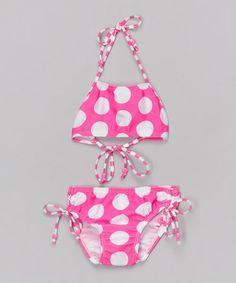 Babi-Kini Pink & White Polka Dot Bikini - Infant, Toddler & Girls   zulily