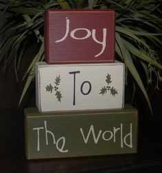 Hey, I found this really awesome Etsy listing at https://www.etsy.com/listing/169242030/joy-to-the-world-wood-sign-shelf-blocks