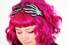 Skeleton Hands Headband, Wired Hair Band, Grey and White embroidered. via Etsy. /I also love her hair/ Hot Pink Hair, Diy Halloween Costumes, Halloween Hair, Halloween Ideas, Happy Halloween, Skeleton Hands, What's Trending, Hair Band, Dyed Hair