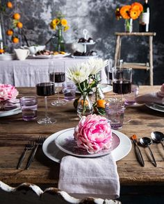 Josie Double Old Fashioned Lilac 8oz. Pink Peony Napkin Ring Helena Lilac Linen Napkin Edge Red Wine 15oz.  easter We love the violet hues in this #Easter tablescape by @halfbakedharvest. Click the link in our bio to get the menu and the look.