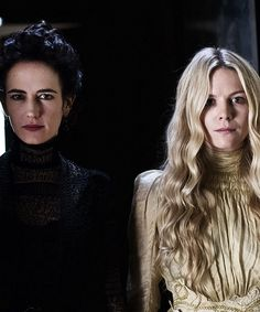 Penny Dreadful, Eva Green as Vanessa Ives and Olivia Llewellyn as Mina Harker. This reminds me of my cousin and me.