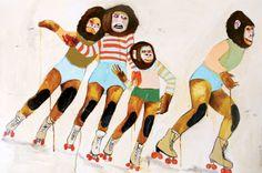 "Saatchi Online Artist: Kelly Puissegur; Acrylic 2013 Painting ""Roller Derby"""