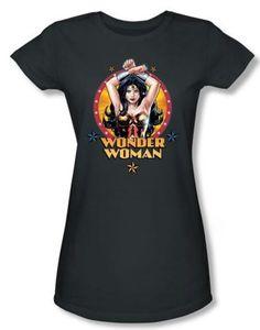 Wonder Woman Charcoal T-Shirt on www.amightygirl.com