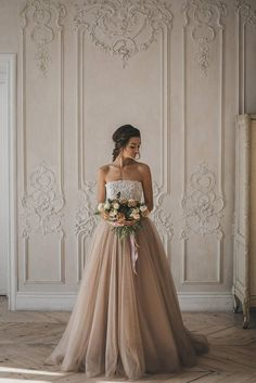 Light brown milk chocolate wedding gown with tulle skirt