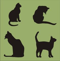 Stencil, cat set of four, largest image is approx. 2.75 x 3 inches for signs crafts wall linen burlap decoration. $5.95, via Etsy.