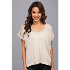 525 america S/S Roll S/S Tee Women's T Shirt, Beige (€21) ❤ liked on Polyvore featuring tops, t-shirts, beige, pink v neck t shirt, drape top, short sleeve tee, pink top and short sleeve v neck tee