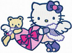 Hello Kitty Snow Angel embroidery design for modern fashion clothing
