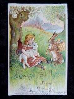 Vintage Fantasy Dressed Easter Bunny Rabbit Postcard Victorian Embossed  #Easter