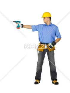 construction worker with drill machine. - Image of a manual construction worker wearing tool belt, hard hat and holding drill machine. Model: Denis Bryzgounov